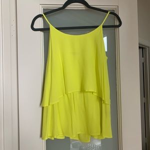 PJK Bright Yellow Cami Ruffle Top!